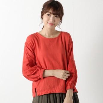 シャツ ブラウス レディース 着易いWガーゼ素材の袖刺繍ブラウス 「レッド」