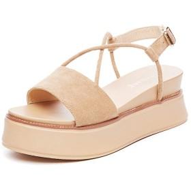 [VALER] サンダル ウェッジソール スエード クロスストラップ レディース 23.0cm ハイヒール 靴 美脚 歩きやすい 厚底 ウエッジヒール あんずいろ カジュアル 痛くない ヒール6cm パーティー 結婚式 厚底サンダル 黒 小さいサイズ