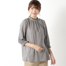 シャツ ブラウス レディース 柔らかな綿100%フランス綾素材の襟フリルシャツ 「グレー」