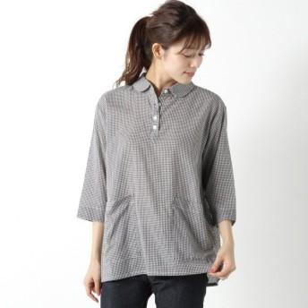 シャツ ブラウス レディース 柔らかな綿100%フランス綾素材のプルオーバーシャツ 「グレー」