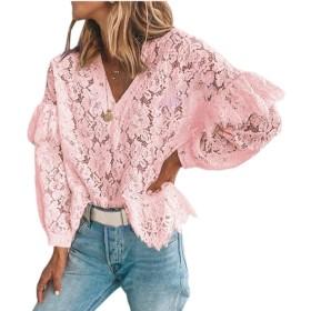 maweisong 女性カジュアルかぎ針編みレースVネックロングスリーブTシャツブラウス Pink M