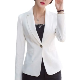 VITryst Women Fall Pure Work Silm Fit Long Sleeve Blazer Suit Coat White M