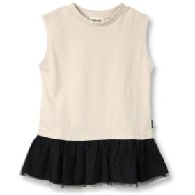 (branshes/ブランシェス)【プチプラ】裾チュール切替Tシャツ(90-140cm)/レディース ベージュ