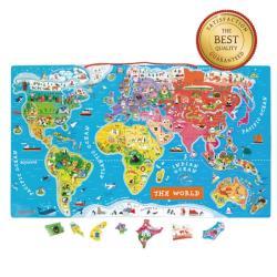 Janod  磁性木質拼圖 世界地圖 中文版