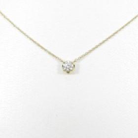 【中古品】【リメイク】K18YG ソリティア ダイヤモンドネックレス