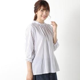 シャツ ブラウス レディース 柔らかな綿100%フランス綾素材の襟フリルシャツ 「オフホワイト」