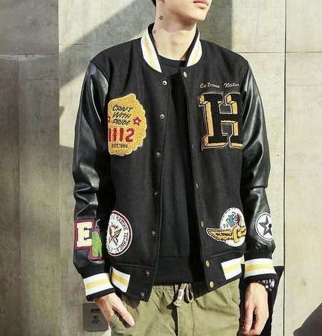 【JP.美日韓】韓國 高檔 皮革 棒球外套 貼布 外套 棒球 潮流外套 非OVK