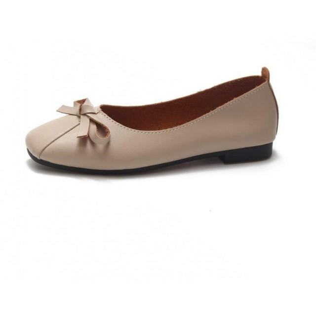 [大きすぎる靴] ぺたんこ バレエ パンプス ローヒール フラットシューズ レディース 母の日ギフト ベージュ 24.5cm