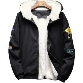 HAPPYJP メンズ 中綿ジャケット 裏起毛 ジャケット 厚手 アウター 防寒 裏ボア コート 冬 カジュアル 大きいサイズM~4XL (ブラック, L)