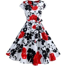 IVNIS レディースワンピース 花柄 レトロ V襟 ポケット リボン スイング Aライン 膝丈 フォーマル パーティードレス 大人 可愛い お呼ばれ 結婚式 二次会 Red Flower 2XL