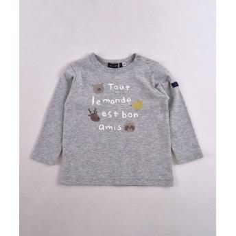 べべオンラインストア スムースアニマルロゴプリントTシャツ レディース グレー 80cm 【BEBE ONLINE STORE】