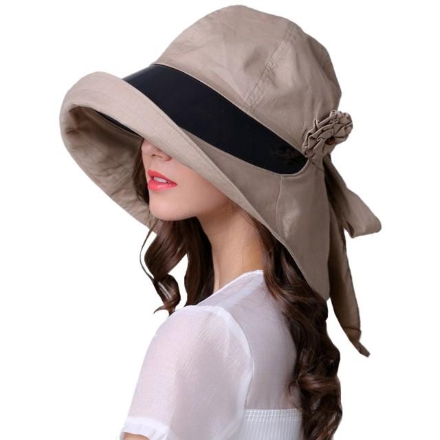 FireflyShop レディース つば広 女優帽 外せるあご紐 UVカット 自転車 ハット 日よけ帽子 大きめ 帽子 バイザー付 (ベージュ)