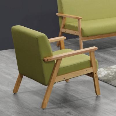 H&D東稻家居 一人座綠色布沙發