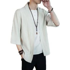 GRESS カーディガン 麻 綿 メンズ 夏 ブラック 薄手 トップス 七分袖 ゆったり y081
