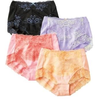 テンセルTM繊維。綿混ストレッチレーシー深ばきショーツ4枚組 スタンダードショーツ,Panties