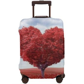 スーツケースカバー トランクカバー 防水 伸縮 恋 心の木 赤 ファスナー おしゃれ おもしろい かわいい プリント お荷物カバー 防塵 弾力性 旅行 S/M/Lサイズ カバーのみ 着脱簡単 目立つ 紛失防止 個性 YAMAYAGO
