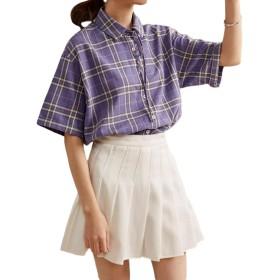 [ShuMing]レディース チェックシャツ ゆったり 半袖 ブラウス チェック柄 リボン付き ファッション シャツ コットン 快適 おしゃれ トップス チェック かわいい 夏(4パープル)