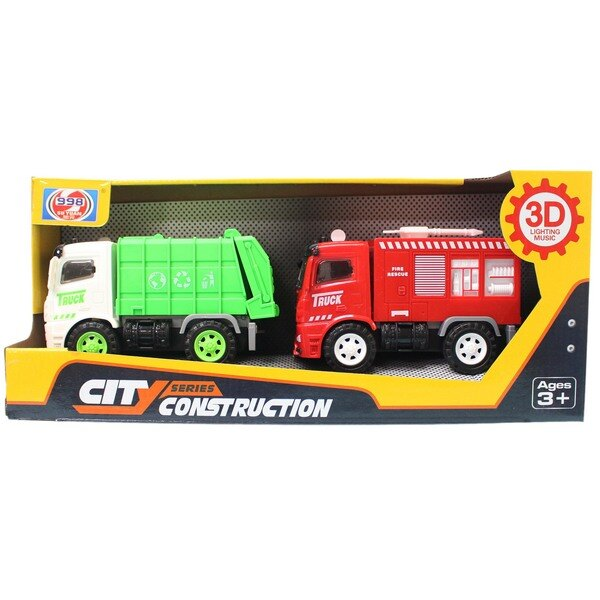 摩輪垃圾車 + 消防車998-45C2(盒裝)/一盒2台入(促299) 慣性音樂車~CF137614