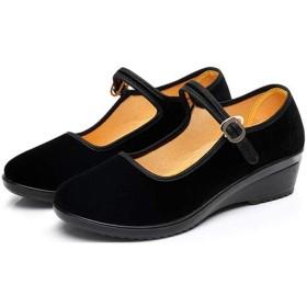 [ふーふうん] 老北京女性布シューズ 北京靴 パンプス通気性優 レディース 復古 ウェッジソール 靴 マジックテープ 女性用 スニーカー 日常用 通勤 無地ブラックC36