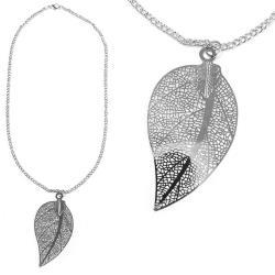 摩達客-銀色葉芯長項鍊
