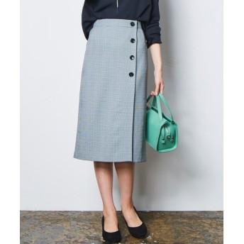 洗えてすごく伸びるラップ風ボタン付きミディスカート(上下別売りスーツ) (大きいサイズレディース)スーツ,women's suits ,plus size