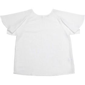 【51%OFF】 レディース ウィメンズシャツ カジュアル 半袖 ラッフル袖ブラウス 白 シロ M