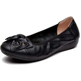 大きいサイズ パンプス 黒 シューズ フラットヒール モカシン 靴 リボン付き バレエシューズ フラット ぺたんこパンプス ブラック レッド 茶色 痛くならない ラウンドトゥ ローヒール 黒 22.5cm パーティ レディース 歩きやすい 結婚式