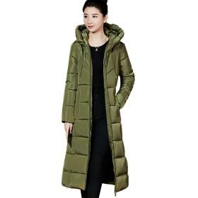 2018冬の新しい女性の綿のコート韓国のファッションスリム大きなサイズに加えて長い綿のフード付き綿の服の女性 (陸軍の緑, L)