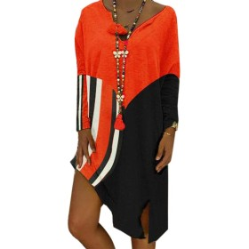 FRPE 女性ステッチVネックルーズフィット不規則Tシャツドレス Red US XL