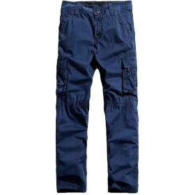 VITryst Men Outdoor Baggy Washed Pocket Trim Chino Cargo Pants Royal Blue XS