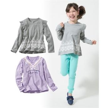 綿100%女の子プリントTシャツ2枚組(女の子 子供服。ジュニア服) Tシャツ・カットソー