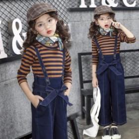 2点セット子供服 サロペット デニム ジーパン 女児 オーバーオール Gパン ワイドパンツ ジーンズ  ゆったり キッズ服 デニムズボン 女の
