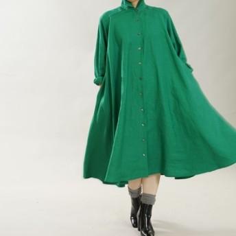 【wafu】中厚 リネン フレアワンピース 2way 織 シャツ ドレス /フィヨルドグリーン a080b-fgn2