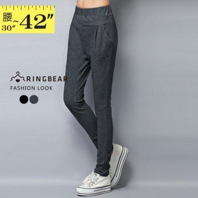 鉛筆褲--休閒時尚鬆緊腰間裝飾車褶雙口袋純棉窄管鉛筆褲(黑.灰XL-4L)-P127眼圈熊中大尺碼