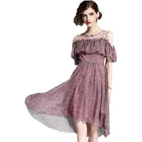 上品 フレアトップ シフォン お呼ばれ 結婚式 ドレス☆2色(ピンク_Sサイズ)