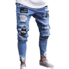 Keaac Men Hip-Hop Denim Work Pants Jeans with Cargo Pockets 1 S
