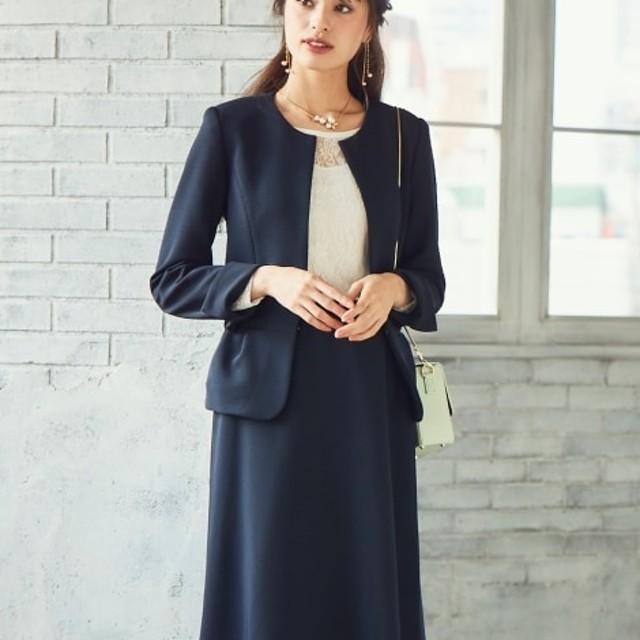 【SOBODY】リップルノーカラースカートスーツ【レディーススーツ】 (大きいサイズレディース)スーツ,women's suits ,plus size