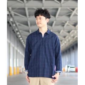 (FREDY & GLOSTER/フレディアンドグロスター)スキッパー七分袖 チェックシャツ/メンズ ネイビー系1