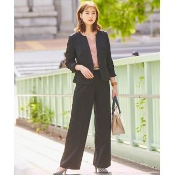 洗えてすごく伸びるウール調キーネックジャケットセミワイドパンツスーツ (大きいサイズレディース)スーツ,women's suits ,plus size