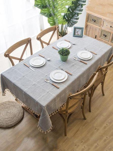 桌布防水防燙防油免洗長方形ins風布藝棉麻小清新茶幾布餐桌布