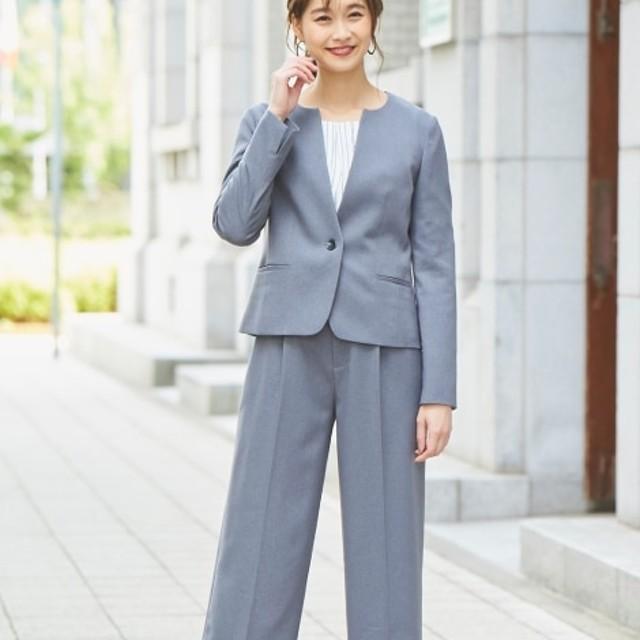洗えてすごく伸びるウール調キーネックジャケット セミワイドパンツスーツ