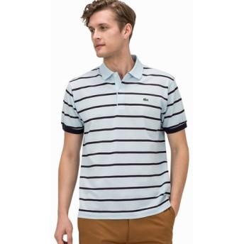 (LACOSTE/ラコステ)ボーダー コットンリネン ポロシャツ (半袖)/メンズ ライトブルー 送料無料
