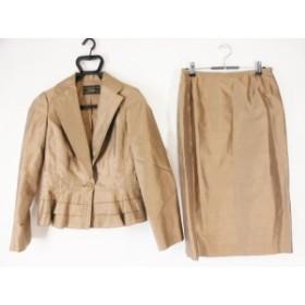 レリアン Leilian スカートスーツ サイズ9 M レディース 美品 ライトブラウン 3点セット/シルク【中古】20190730