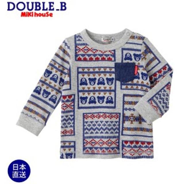 ミキハウス ダブルビー mikihouse バンダナ風プリント長袖Tシャツ(100cm・110cm)