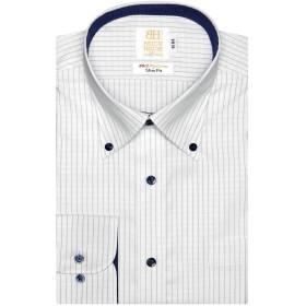 ブリックハウス ワイシャツ 長袖 形態安定 ボタンダウン 綿100% スリム メンズ BM019107AA11B4A-14 ブルー M-84