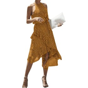 AngelSpace 女性のマキシとミディファッションプラスサイズ高低イブニングドレス Yellow 2XL