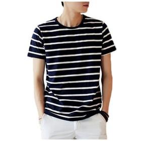 Wiboyjp メンズ tシャツ 半袖 ボーダー スエット コットン カットソー