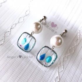 【受注制作】四角い雫のイヤリング・青×水色