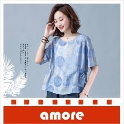 amore 圓領復古寬鬆大碼圓點短袖T恤