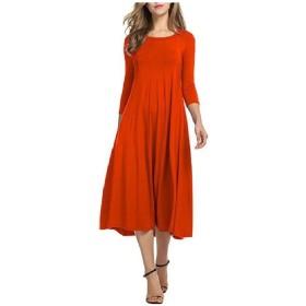 VITryst 女性3 / 4スリーブバギー丸首純粋カラーボールガウンパーティードレス Orange M